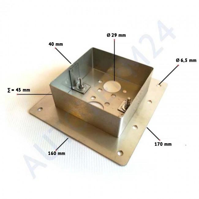Einbauflansch Luftheizungen für Böden bis 40mm, Edelstahl