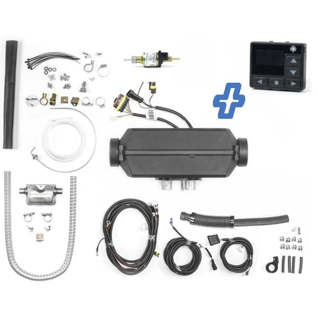 Planar 2D Diesel-Luftstandheizung 2kW 12V inkl. OLED-Display, Abgasschalldämpfer, URAL Höhenkit