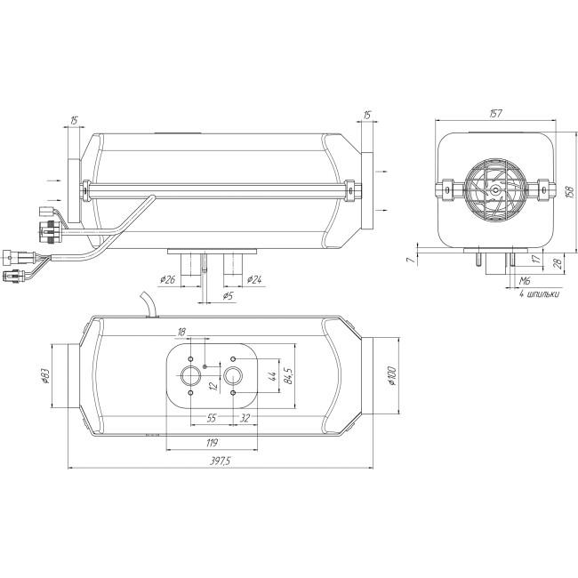 Planar 44D Diesel-Luftstandheizung 4kW 24V inkl. Drehregler und Abgasschalldämpfer, URAL Höhenkit